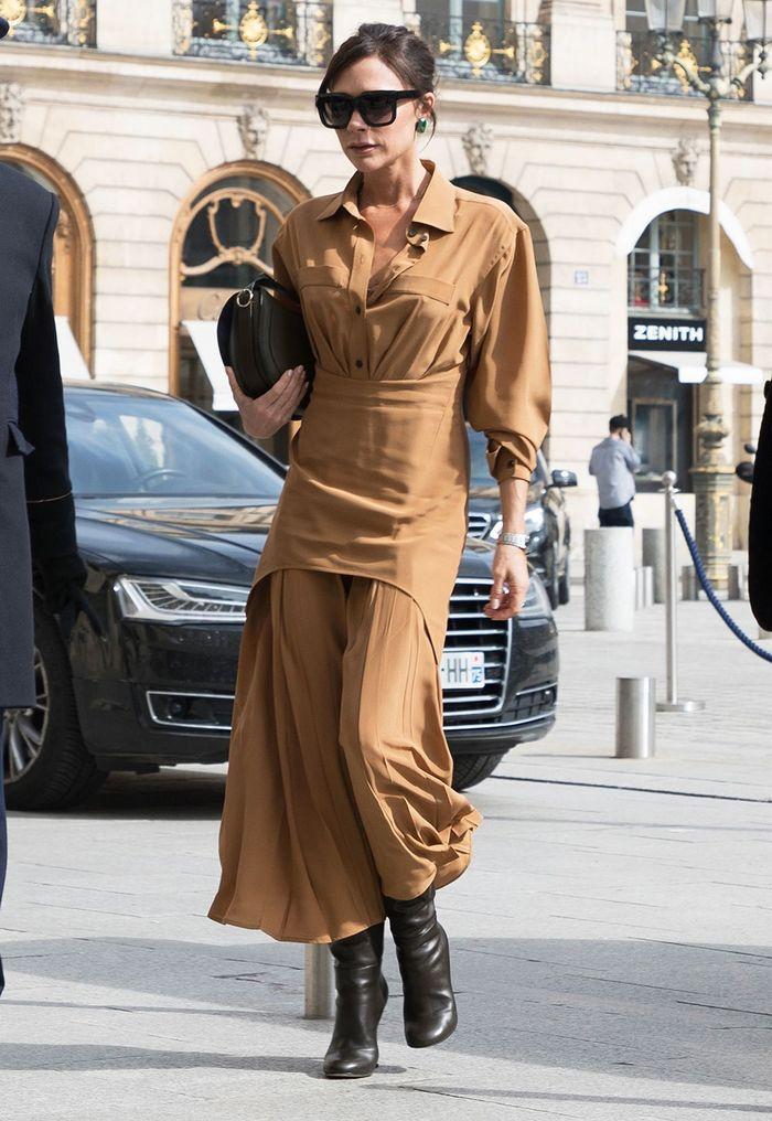 Victoria-Beckham-Style-tan-dress